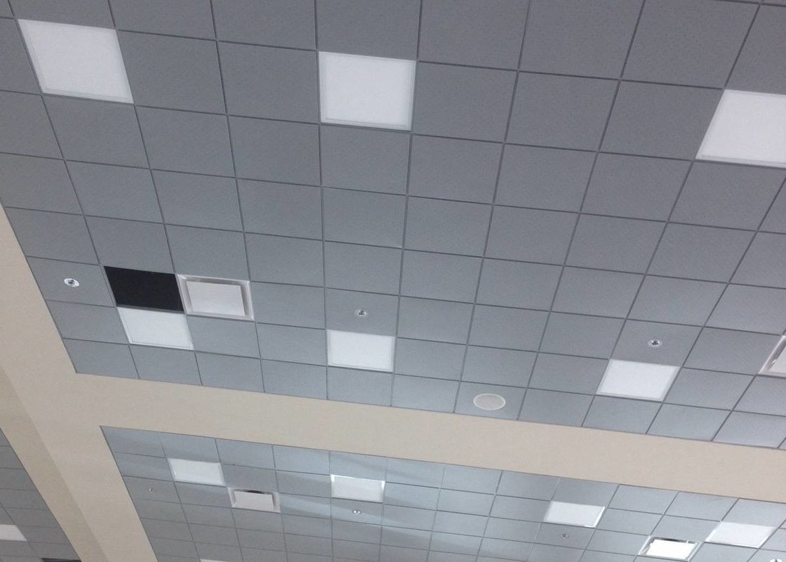 Grey Color Galvanized Steel Lay In Ceiling Tiles 605 X 605mm For Airport